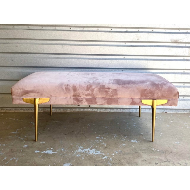 Contemporary Lavender Velvet Bench For Sale - Image 4 of 9