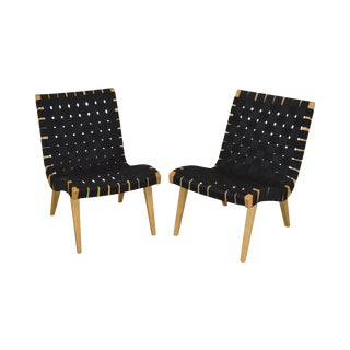 Jens Risom for Knoll Pair Armless Black Webbed Lounge Chairs For Sale