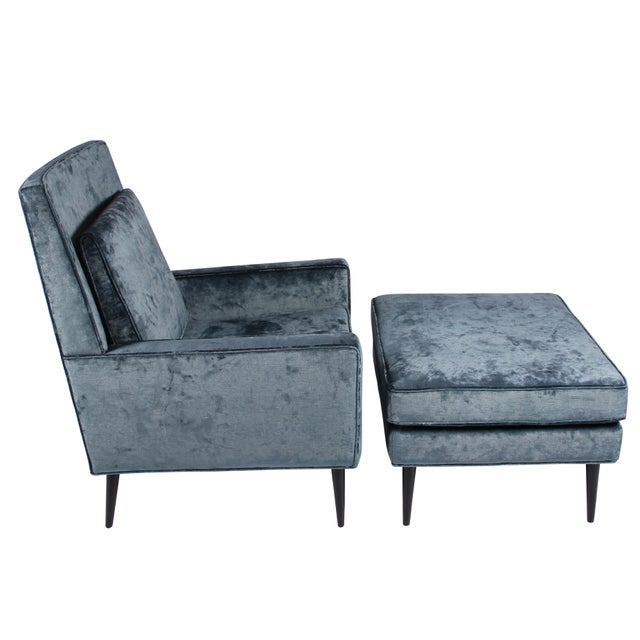 Contemporary 1950s Blue Velvet Lounge Chair and Ottoman For Sale - Image 3 of 11