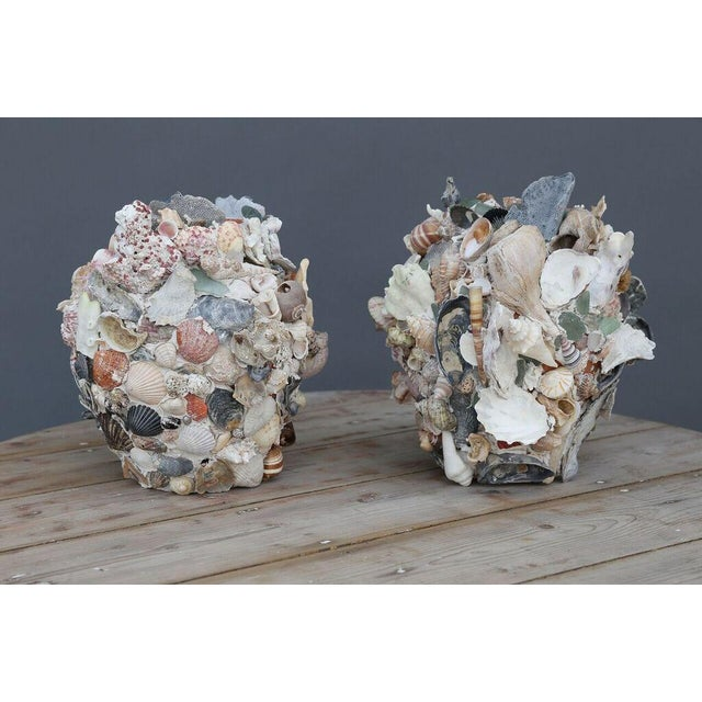 Folk Art Shell-Covered Terracotta Cache-Pots For Sale - Image 3 of 9