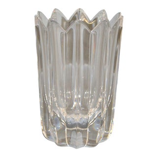 Orrefors Scandinavian Modern Lead Crystal Clear Fleur Vase Jan Johansson Sweden For Sale