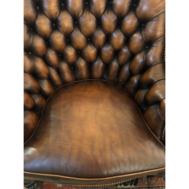 Tufted Burnished Leather Club Chairs - a Pair For Sale - Image 11 of 13