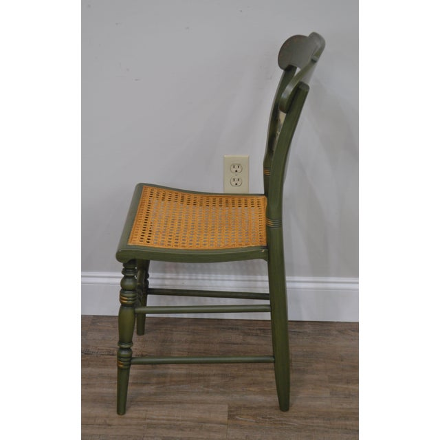 Green Hitchcock Green Painted George Washington Mt Vernon Cane Seat Side Chair For Sale - Image 8 of 13