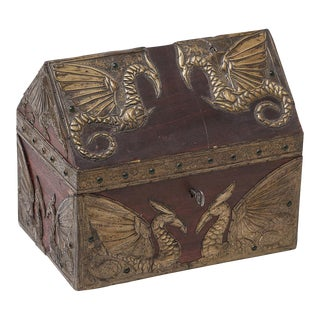 Winged Phoenix Metal Repousse Box, attributed to Alfred Daguet