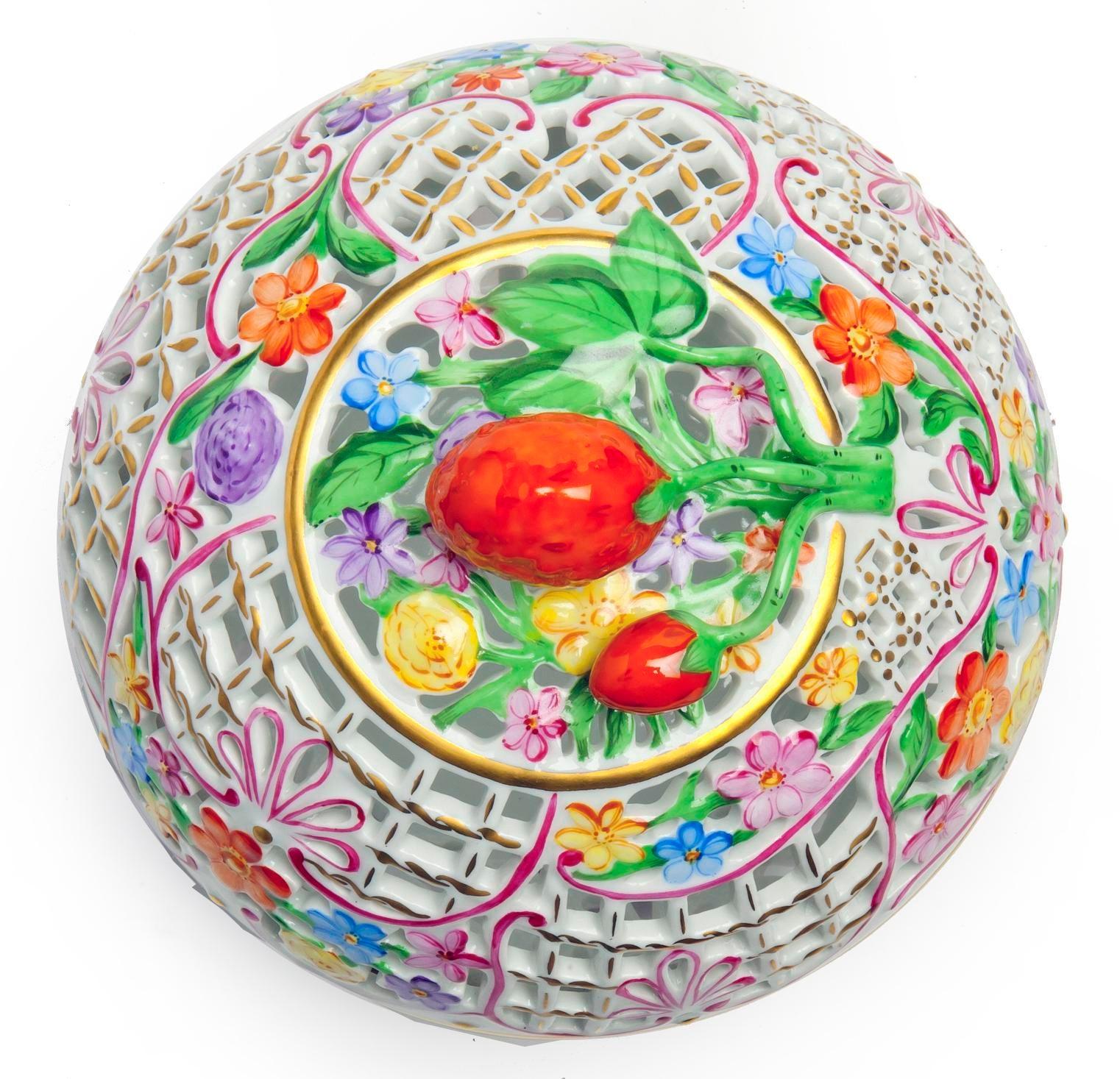 Herend Strawberry Finial Medium Openwork Ball
