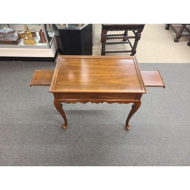 Metal Vintage Ethan Allen Georgian Court Mahogany Tea Table For Sale - Image 7 of 11