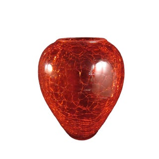 1960s Mid-Century Modern Handblown Ruby Red Crackle Glass Vase For Sale