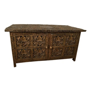 Indian Antique Carved Wood Cabinet Box For Sale