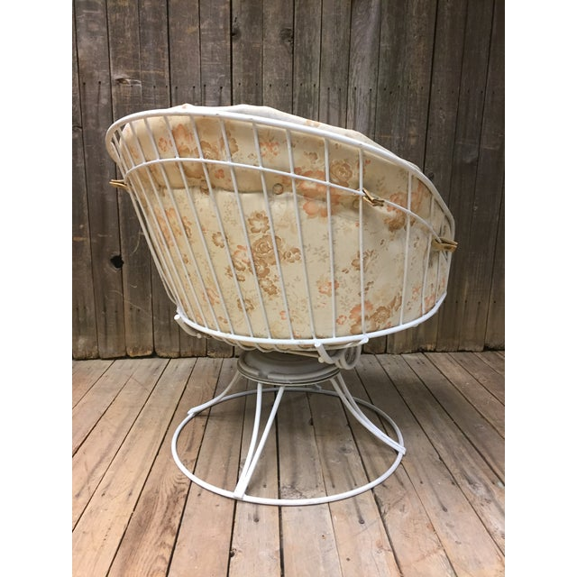 Metal Mid Century Modern White Homecrest Swivel Metal Chair For Sale - Image 7 of 11