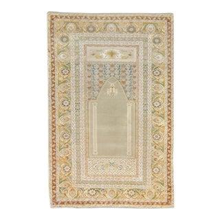 1880s Vintage Panderma Prayer Floral Beige Olive Wool Hand-Knotted Rug For Sale