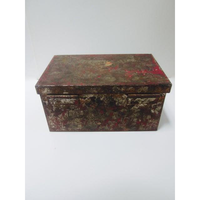 Vintage Rustic Metal Industrial Storage Tool Box For Sale - Image 7 of 8