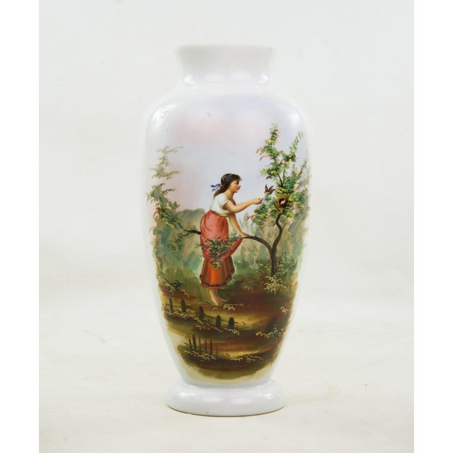 19th C. Victorian Hand Painted Bristol Vase For Sale - Image 9 of 9