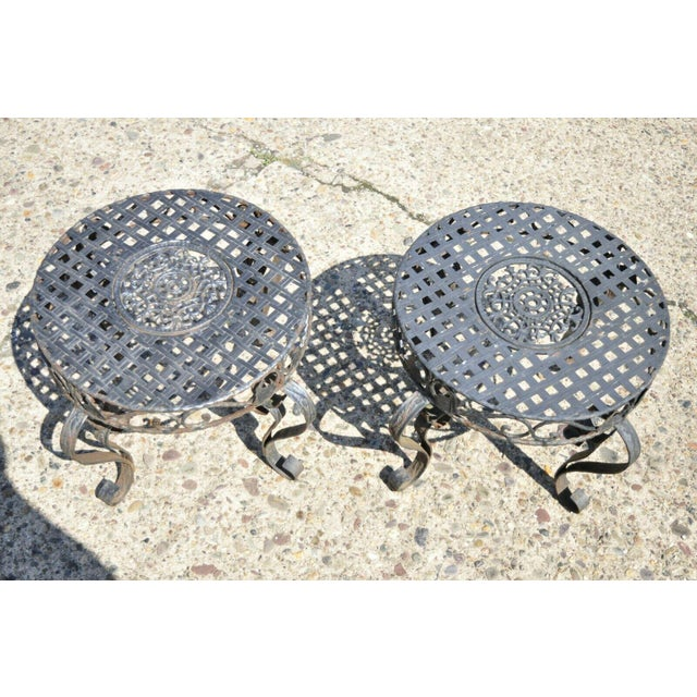 French Art Nouveau Style Wrought Iron Lattice Top Round Side Tables - a Pair For Sale - Image 4 of 12