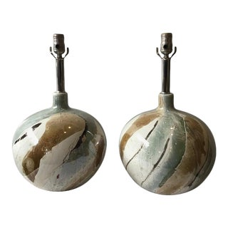 Pair of 1990s Ceramic Glossed Abstract Painted Lamos For Sale