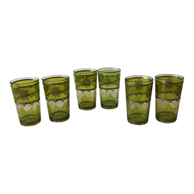 Set of (6) Green and Gold Moroccan Mini Tea Glasses For Sale