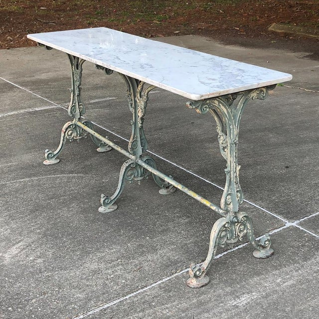Belle Epoque 19th Century Cast Iron Marble Top Sofa Table ~ Confectioner's Table For Sale - Image 3 of 13