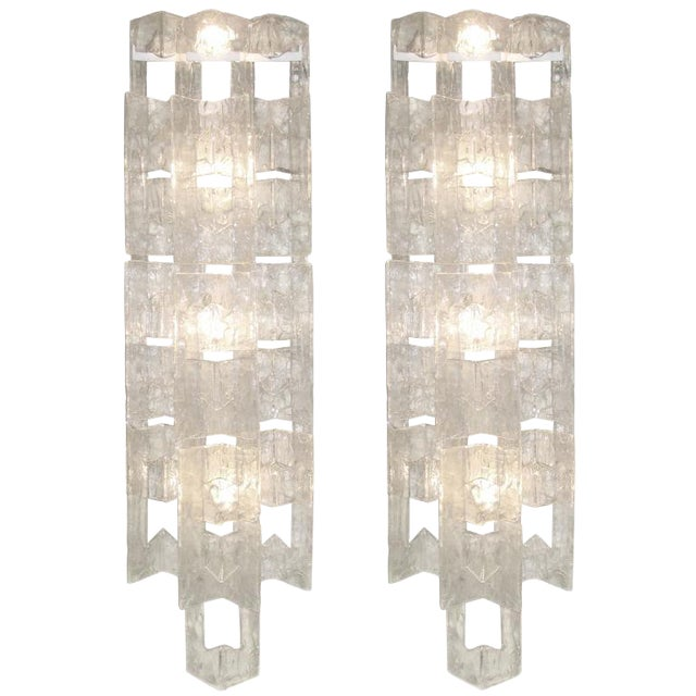 Pair of Mazzega Large Glass Sconces For Sale