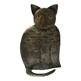 Brutalist Welded Steel and Brass Cat Sculpture For Sale