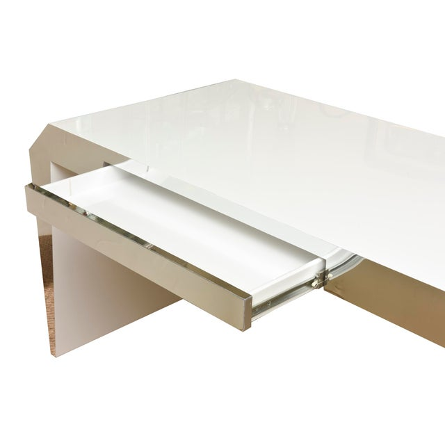 1980s Monumental White Lacquered Wood and Stainless Steel Sculptural Desk For Sale - Image 5 of 8