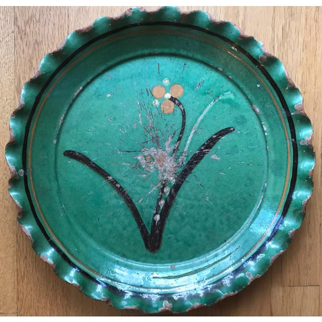 Vintage French Provincial DeMarnaz Green Pottery Platter With Black and Ochre Flower Decoration For Sale - Image 4 of 4