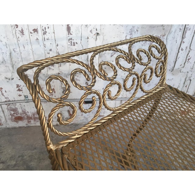 Hollywood Regency Gold Gilt Wrought Iron Tassel Vanity Bench For Sale - Image 6 of 10