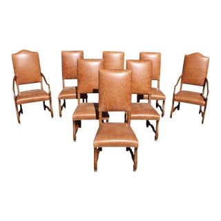 Early 20th Century Vintage French Louis XIII Style Os De Mouton Solid Walnut Dining Chairs- Set of 8 For Sale