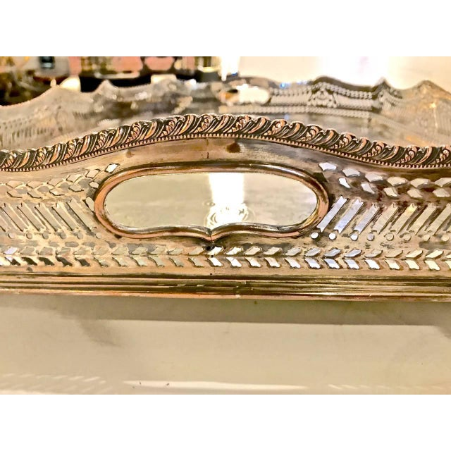 Sheffield Silver Plate Large Gallery Tray For Sale - Image 4 of 8