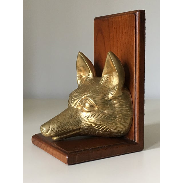 Vintage Fox Head Sculptural Brass & Wood Bookend - Image 3 of 6