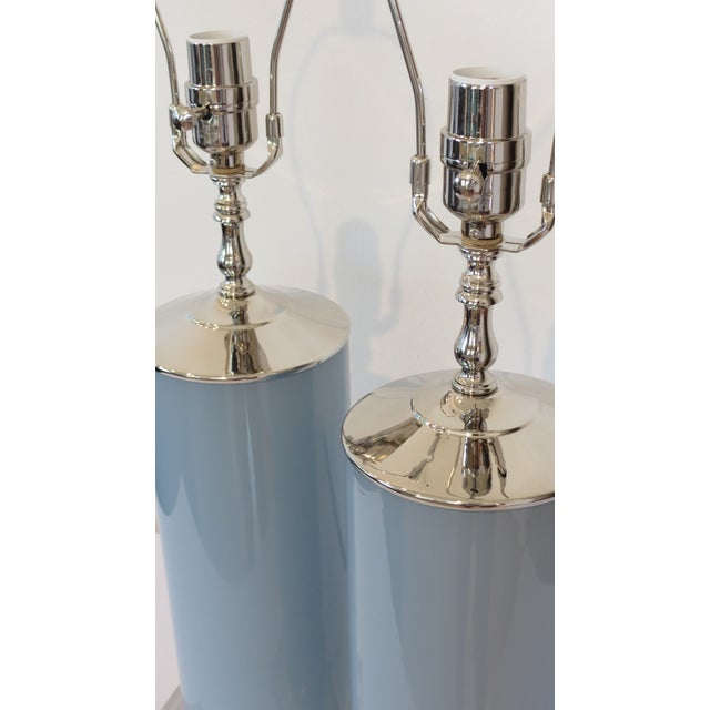 Contemporary Custom Made Glass Column Lamps in Silver Fox Blue by C. Damien Fox 2018. For Sale - Image 3 of 10