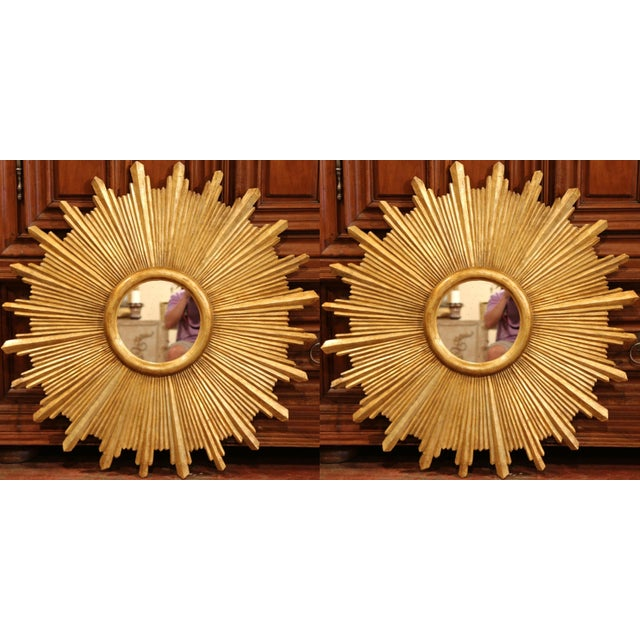 Large Pair of Italian Carved Giltwood Sunburst Mirrors For Sale - Image 9 of 11