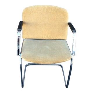 Mid- Century Chrome & Mohair Side Chair For Sale