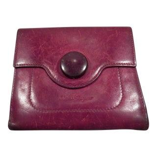 Vintage Salvatore Ferragamo Aubergine Leather Wallet For Sale