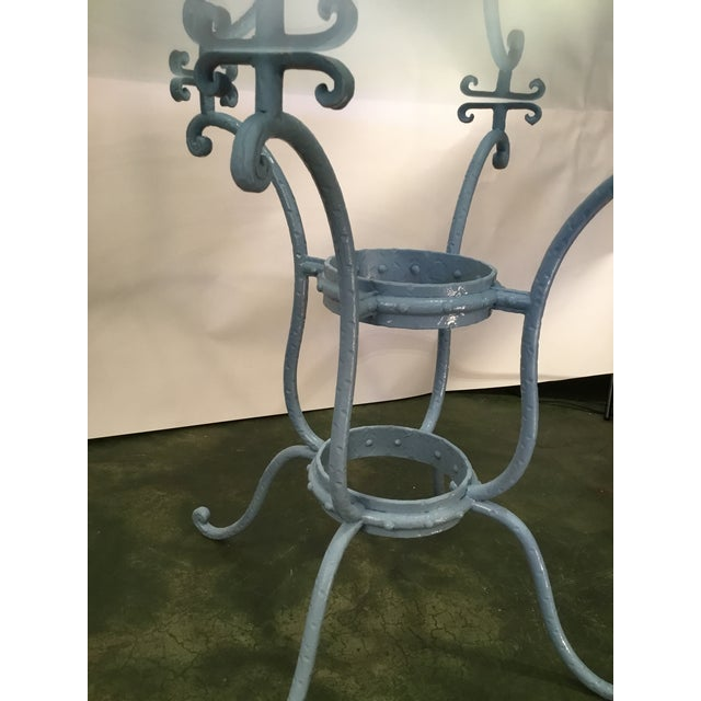 French Blue Iron Base Table With Rounded Beveled Edge Glass Top For Sale In Los Angeles - Image 6 of 11