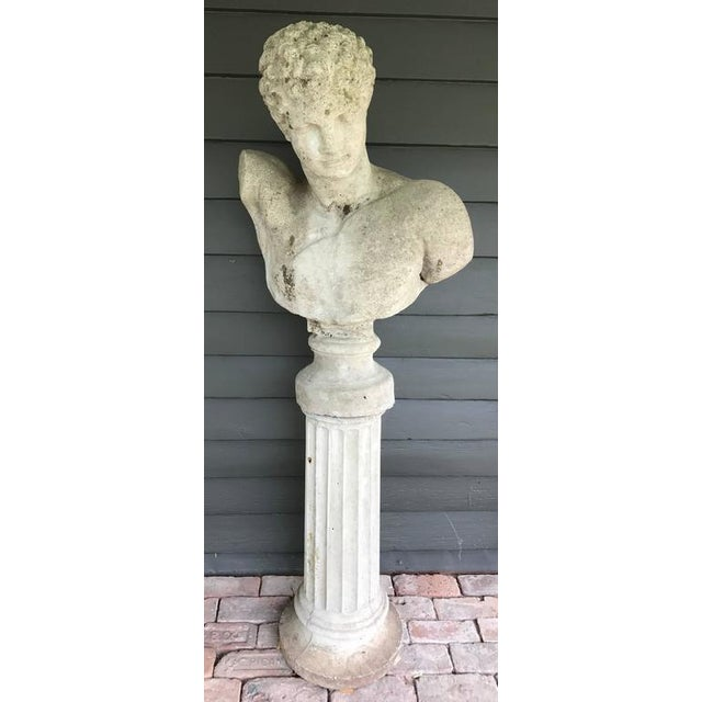 Cast stone Italian classical style garden bust of Hermes with associated column base. Two available.