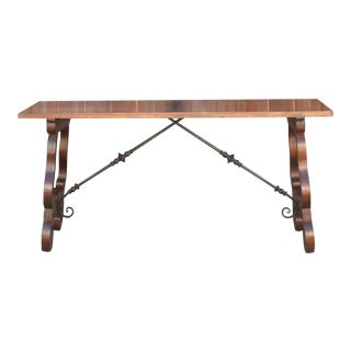 Stylish Spanish Colonial Lyra Writing Table For Sale