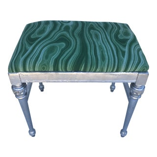 1920s Vintage Malachite Upholstery Wood Bench For Sale