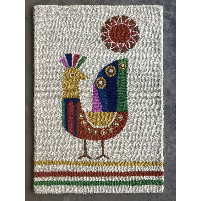 Limited Edition Mid Century Inspired Wool Bird Hook Pile Rug Wall Hanging For Sale - Image 4 of 5