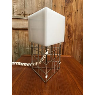 Mid 20th Century Chrome Triangle Cage Lamp With White Acrylic Shade Preview