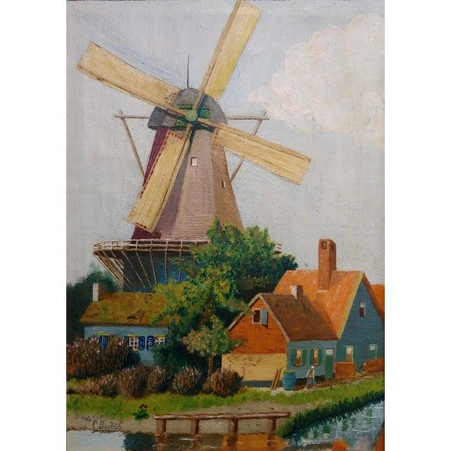 """Art Nouveau C. Busch """"Dutch Windmill"""" Oil Painting For Sale - Image 3 of 10"""