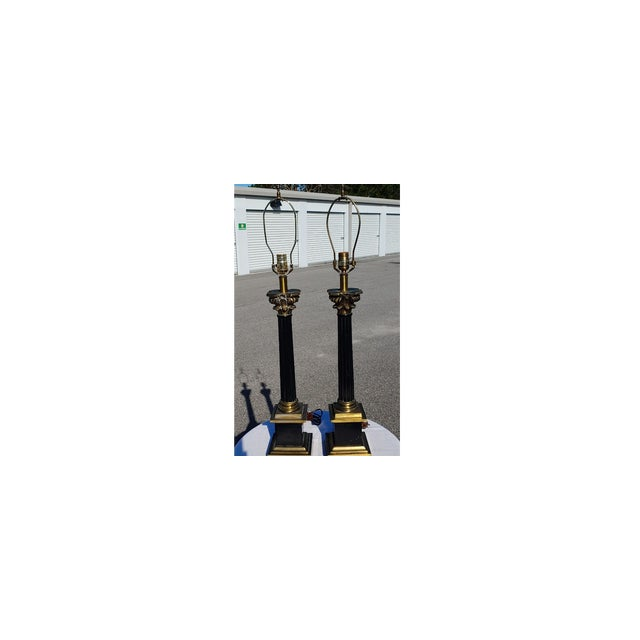 Leviton Mid Century Modern Black and Gold Metal Lamps - a Pair For Sale - Image 4 of 8