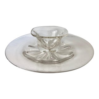 Mid-Century Edvard Hald-Orrefors Crystal Platter & Bowl - a Pair For Sale