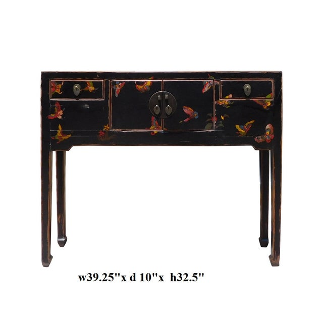 Bufferfly Motif Black Console Table - Image 6 of 6