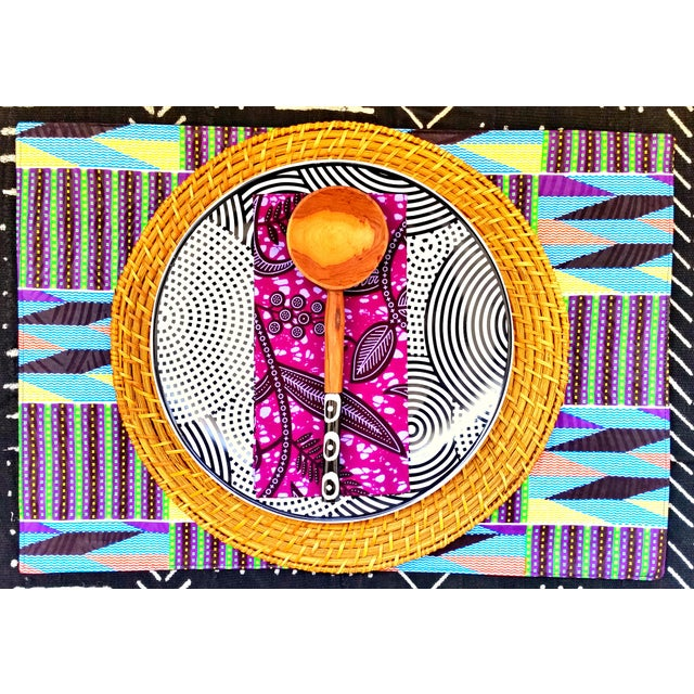 African African Purple Print Fabric Placemats - Set of 8 For Sale - Image 3 of 6