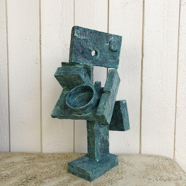 Cubist abstract mixed-media sculpture by Scotish artist Bill Low (1898-1981). This sculpture was created using various...