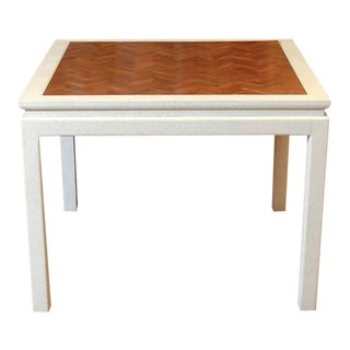 Outstanding Cream Raffia Game Table with Walnut Parquet Top
