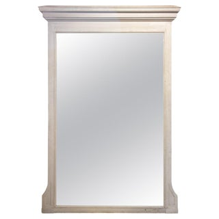 Antique French Painted Floor Mirror in Antiqued White For Sale