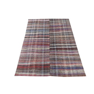 Late 20th Century Turkish Handmade Flatweave Rug - 7′6″ × 11′1″ For Sale