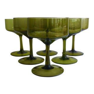 Vintage Green Champagne Coupes - Set of 6 For Sale