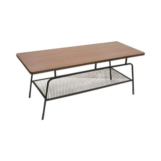 Umanoff Iron and Walnut Laminate Cocktail Table For Sale