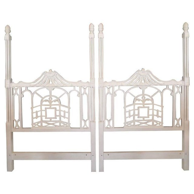 Vintage Chippendale Hollywood Regency Pagoda Twin Headboards - A Pair For Sale In West Palm - Image 6 of 6
